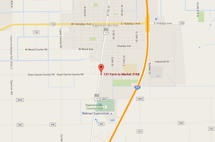 map of where the Raymondville location is