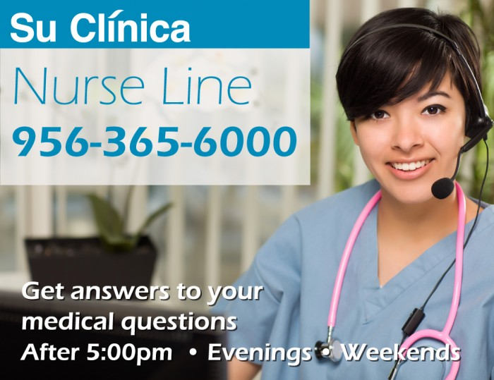 Su Clinica Nurse Line. Get answers to your medical questions.